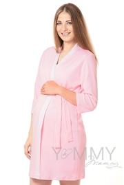 Комплект халат с сорочкой розовый с белой полоской