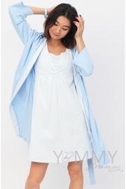 Комплект халат с сорочкой голубой с белой полоской