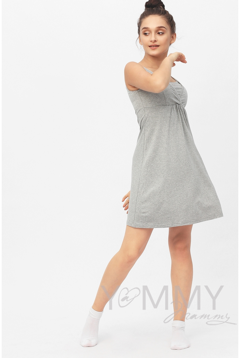 Ночная сорочка для беременных и кормящих, цвет серый меланж - СКИДКА!!!