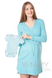 """Комплект халат с сорочкой бирюзовый """"зиг-заг"""""""