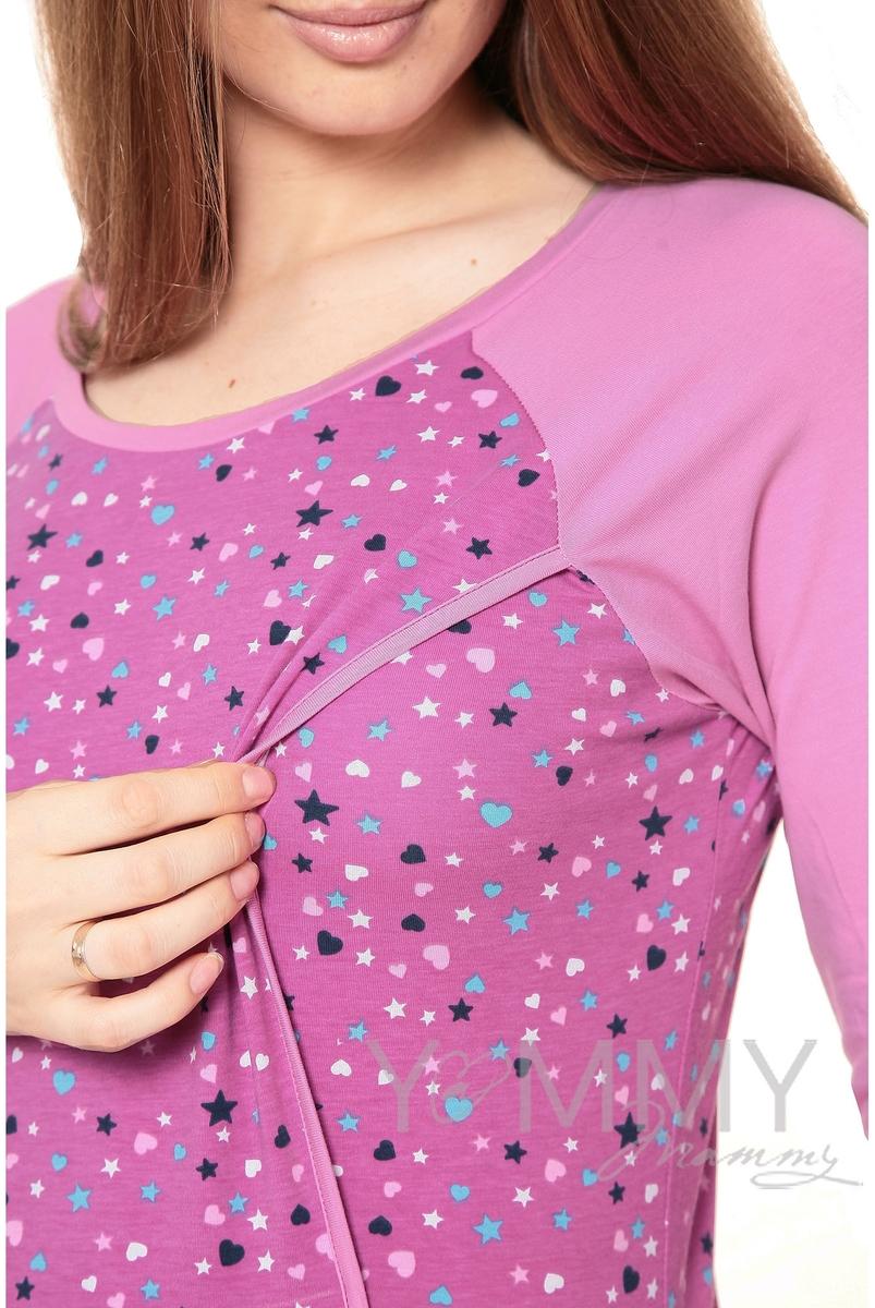 Платье для дома и сна для беременных и кормящих, орхидея / звездочки