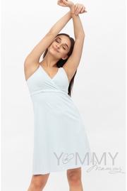 Комплект халат с сорочкой для беременных и кормящих, голубой
