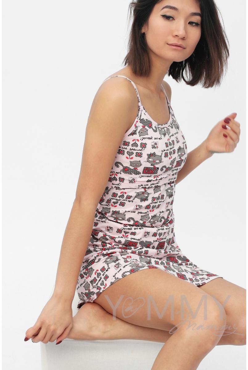 Сорочка на бретельках розовая / котята