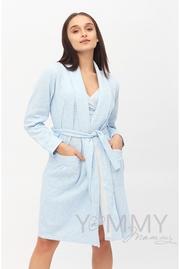 Комплект халат с сорочкой для беременных и кормящих, голубой - Скидка!