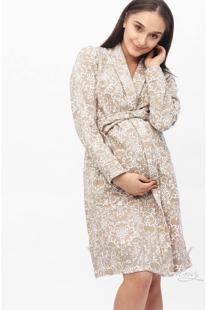 Халат для беременных и кормящих с цветочным принтом, цвет бежевый