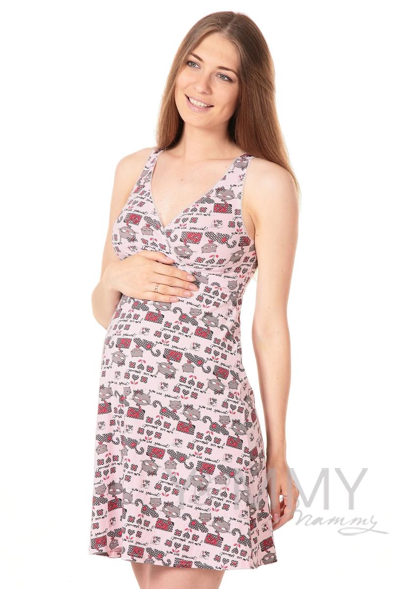 Ночная сорочка - топ розовая / котята
