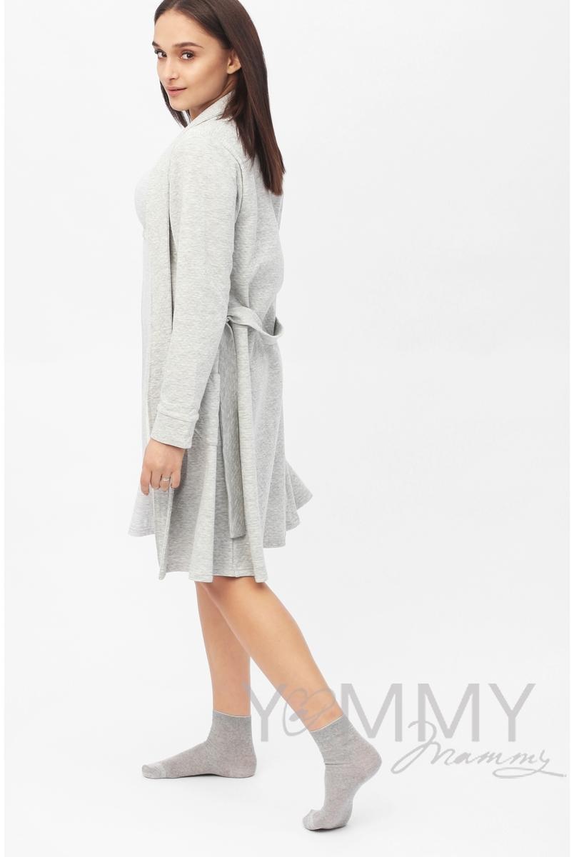 Комплект для кормящих и беременных халат с сорочкой, цвет серый меланж