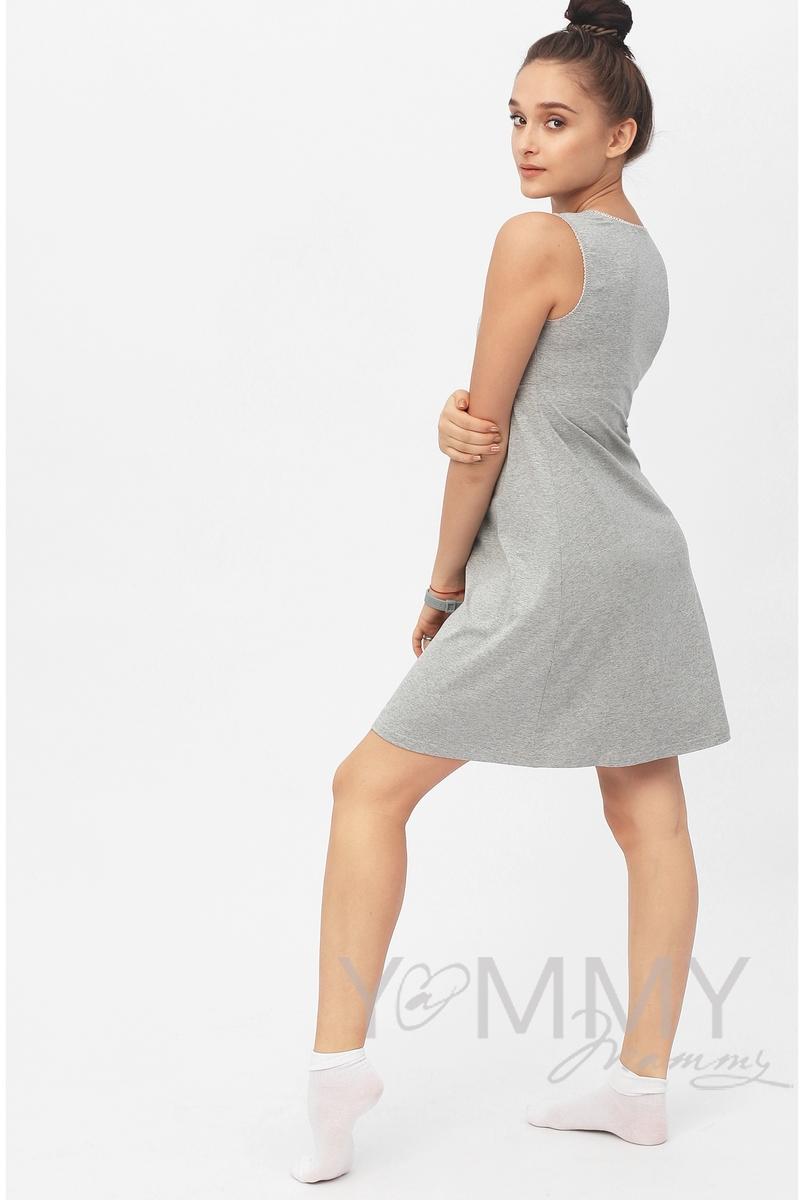 Ночная сорочка для беременных и кормящих, цвет серый меланж