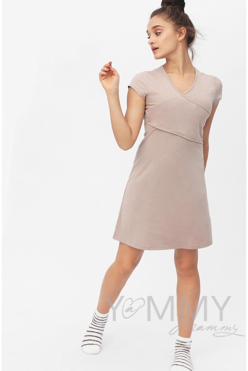"""Платье-кимоно для дома трикотажное, цвет """"капучино"""""""
