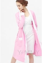 Халат для роддома розовый с отделкой в розовый горошек