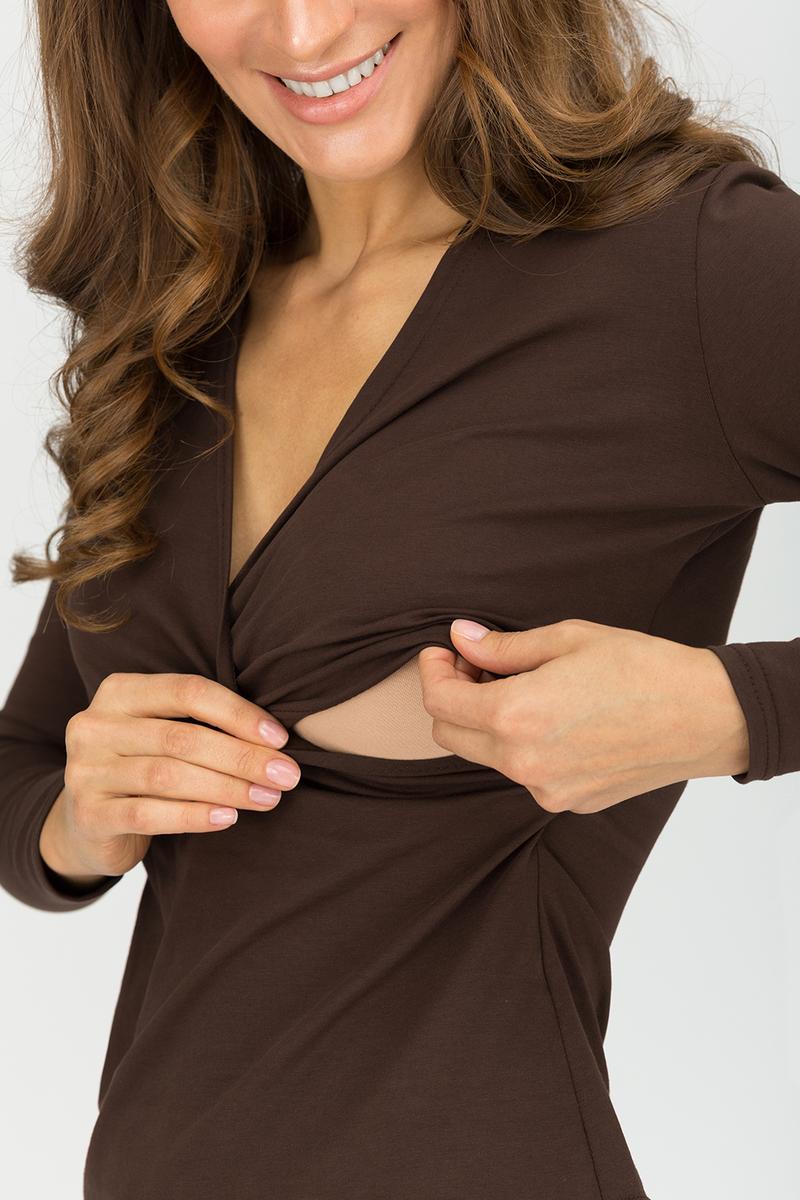 """Блуза для беременных и кормящих """"Сюрприз"""", шоколад"""