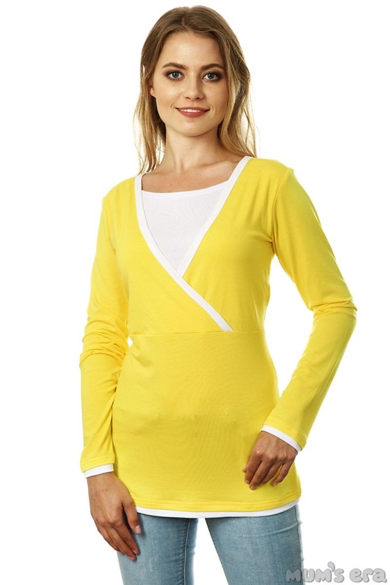 """Блуза для беременных и кормящих """"Гармония"""", желт/белый, дл.рукав"""