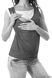 """Блуза для беременных и кормящих """"Индиана"""", грей/белый, дл. рукав"""