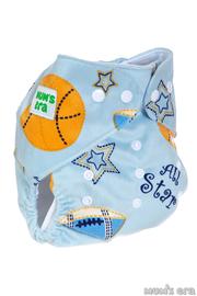 """Многоразовый подгузник """"Баскетбол"""", голубой со вкладышем"""