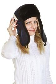 Ушанка текстильная с карманом для телефона, нэви/черн.мутон