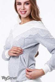 Свитшот для беременных и кормящих Amira, сер.меланж с кружевом