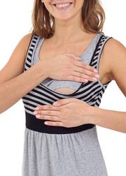 Платье для беременных и кормящих Триколор, сер.меланж/черный