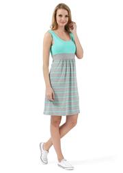 Платье для беременных и кормящих Триколор, сер.меланж/ментол полоса