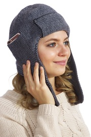 Ушанка вязаная с карманом для телефона, антрацит