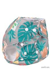 Многоразовый подгузник Тропик, сер/зеленый со вкладышем