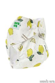 Многоразовый подгузник Лимоны, молочный со вкладышем