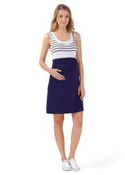 Платье для беременных и кормящих Триколор, т.синий/белый