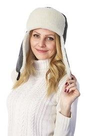 Ушанка текстильная с карманом для телефона, , грей/кёрли
