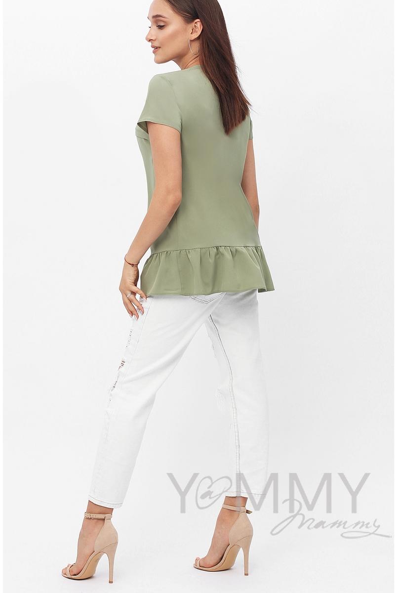 Блуза для кормящих и беременных с воланом, олива