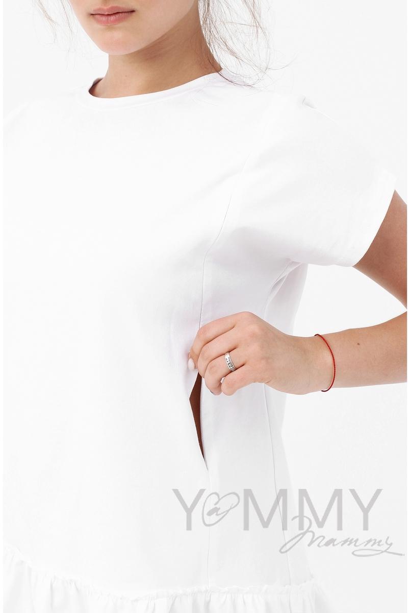 Футболка для кормящих и беременных свободного силуэта с воланом, белый