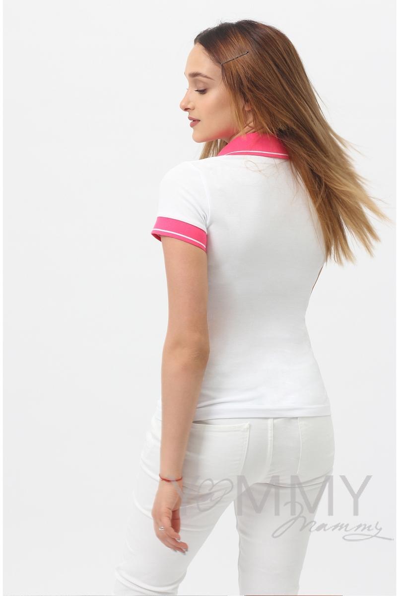 Футболка поло для беременных и кормящих, белая с розовым воротником - скидка