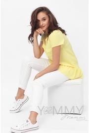 Блуза для беременных и кормящих с воланом, цвет желтый - СКИДКА