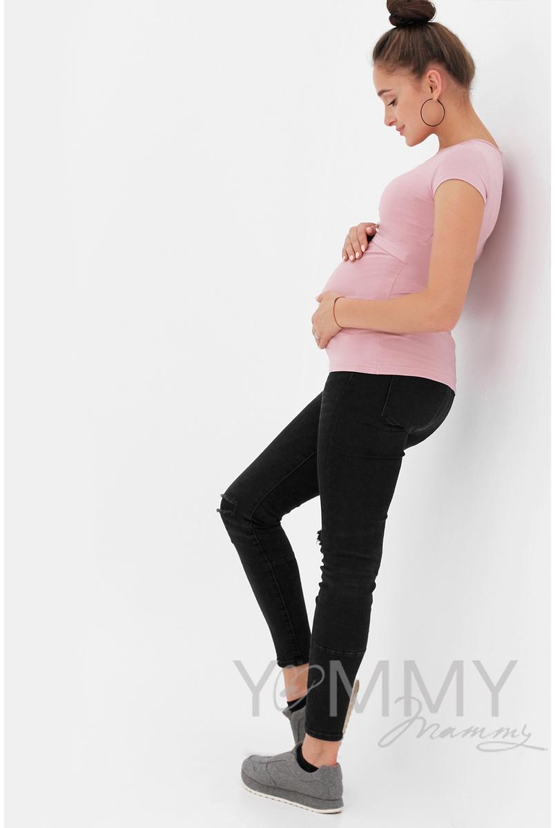 Футболка для беременных и кормящих, пудрово-розовая