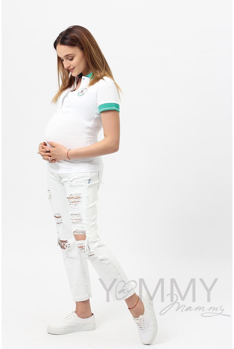 Футболка поло для кормящих и беременных, белая с зеленым воротником - СКИДКА