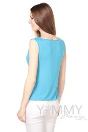 """Блуза для кормящих и беременных с вырезом """"качели"""", бирюза"""
