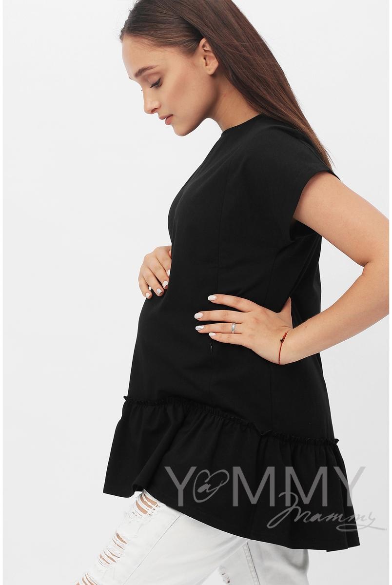Футболка для беременных и кормящих свободного силуэта с воланом, цвет черный