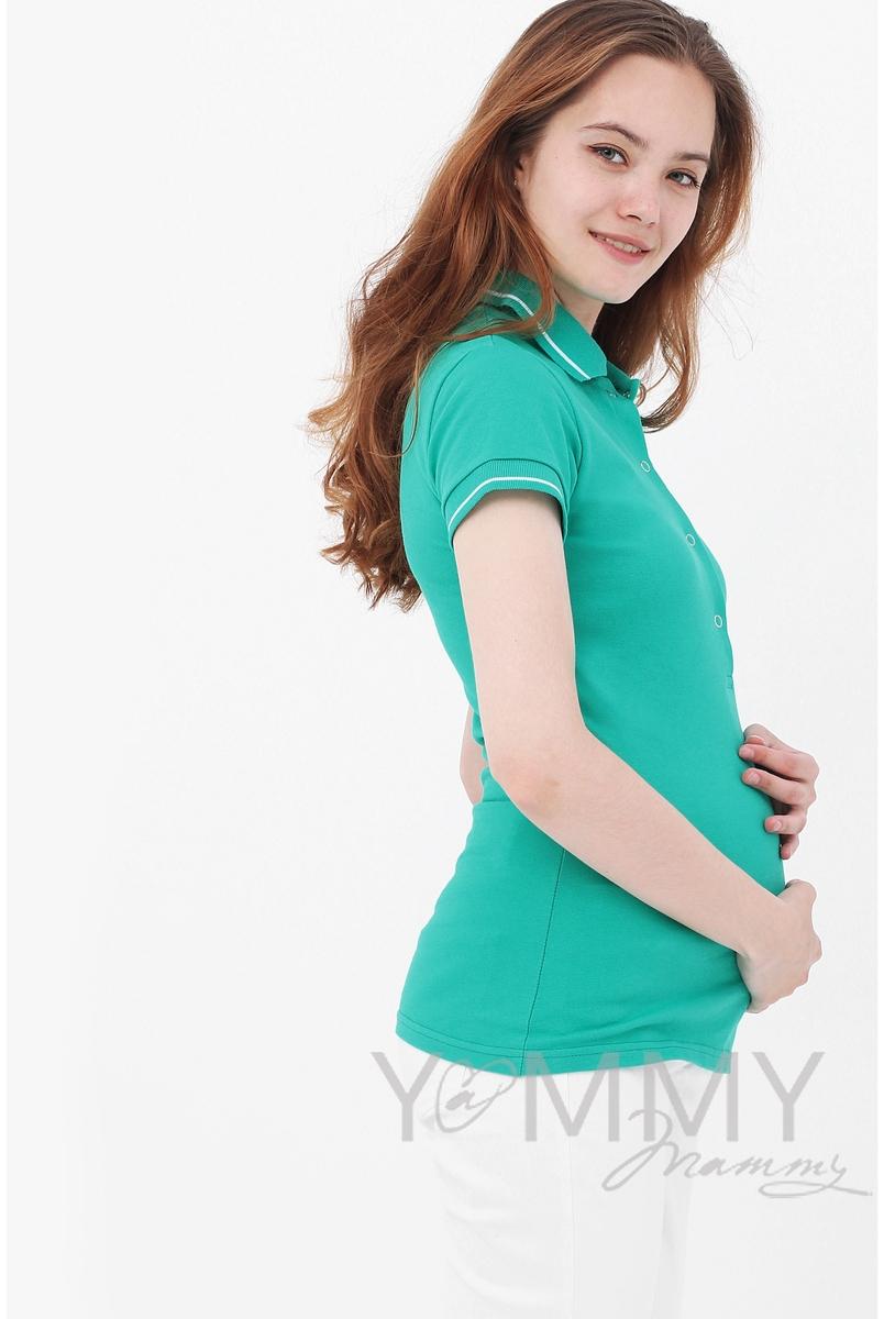 Футболка для кормящих и беременных поло, зелёная - скидка