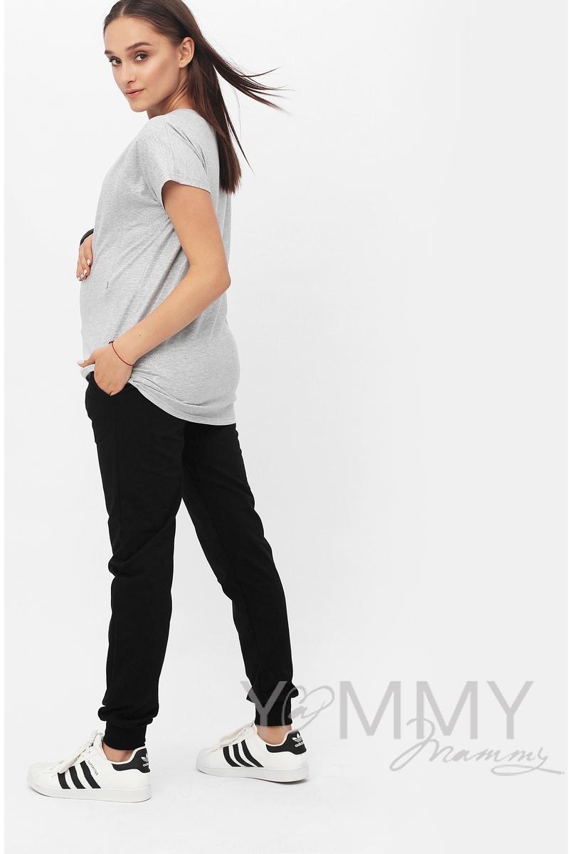 Футболка для беременных и кормящих с серебряным напылением, цвет серый меланж