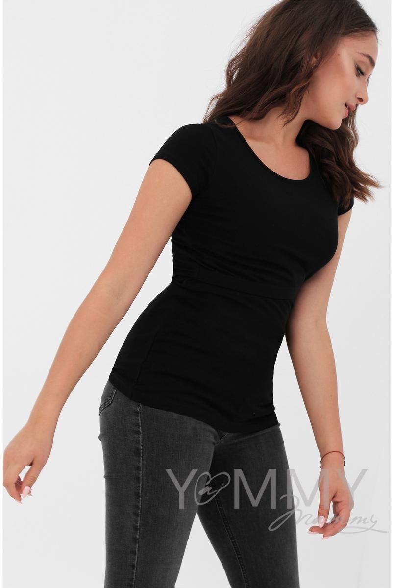 Футболка для кормящих и беременных, цвет черный - СКИДКА!