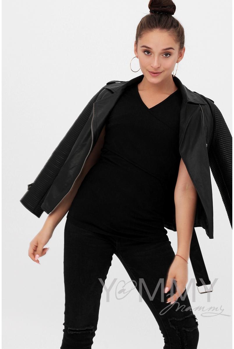 Футболка кимоно для беременных и кормящих, цвет черный
