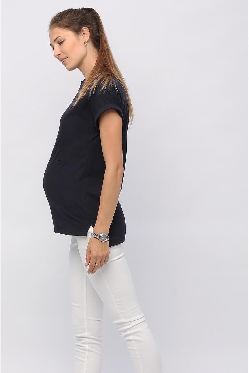 Футболка для беременных и кормящих, цвет темно-синий