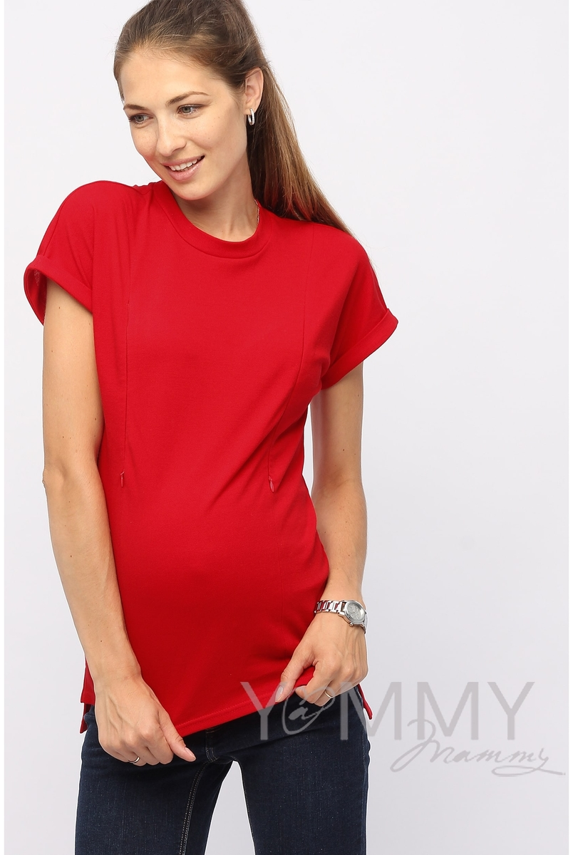 Футболка для кормящих и беременных, цвет красный