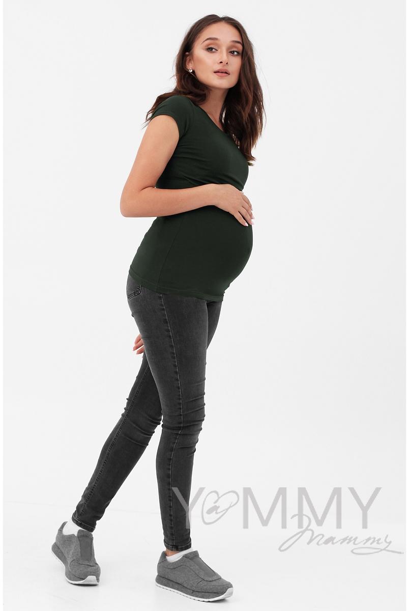 Футболка для беременных и кормящих, цвет милитари