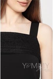 Майка для кормящих и беременных с кружевом, цвет черный