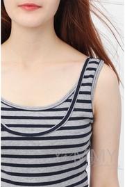 Майка для кормящих и беременных в полоску, цвет серый меланж/синий