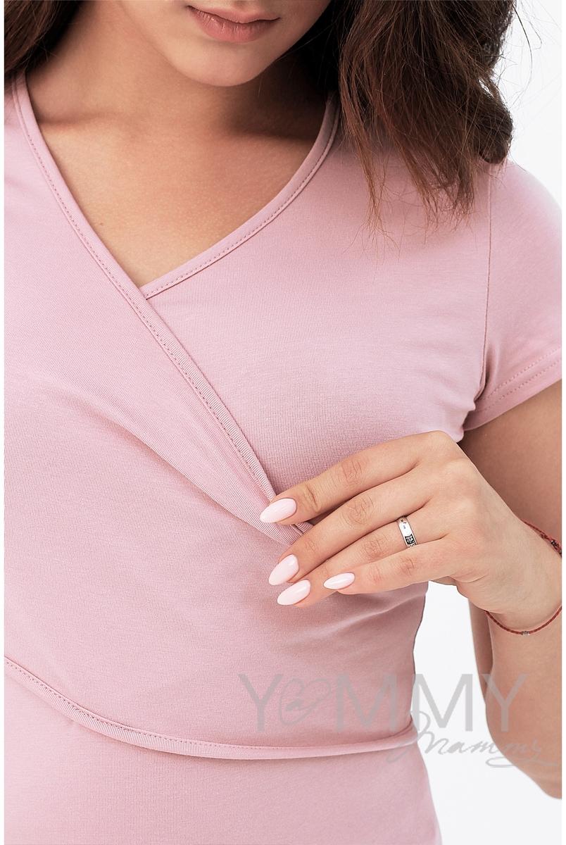 Футболка кимоно для кормящих и беременных, цвет пудрово-розовый